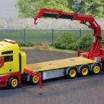 5achsiges MAN TGX Fahrzeug mit Ladefläche und Ladekran